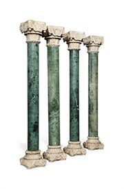 A set of four 20th century verde antico and white marble columns of classical form, 154cm high.  Estimate £300-500