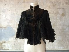 Tattered Vintage Victorian Shawl Cloak Coat Witch Haunt Pirate Vampire Costume #Unbranded