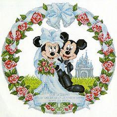 Free Wedding X Stitch Patterns | ... Mouse Disney Mickey & Minnie Mouse Wedding Embroidery Cross Stitch Set