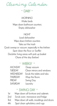Weekly cleaning list
