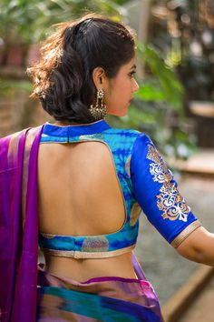 Blue shibori brocade blouse with rich details #sexyback #houseofblouse #blouse