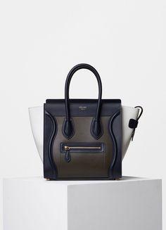 Micro Luggage Handbag in Multicolor Smooth Calfskin - Céline