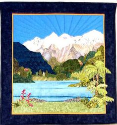 Tranquility is a landscape quilt inspired by a calendar of New Zealand scenery.