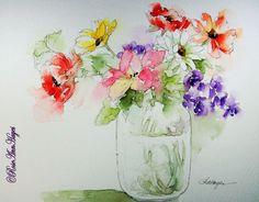 Watercolor Paintings by RoseAnn Hayes: Watercolor Painting of Flowers