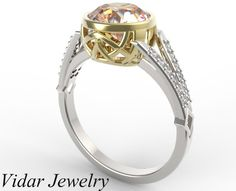 Morganite Two Tone Engagement Ring