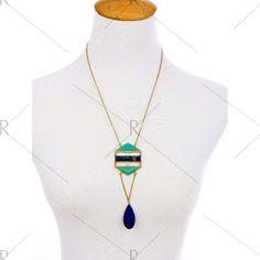 Retro Water Drop Rhinestone Pendant Necklace