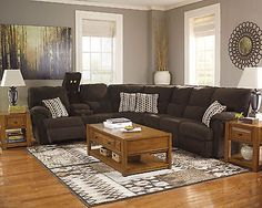 brown fabric recliner sofa couch sleeper sectional set living room