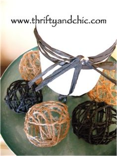 DIY Jute Balls. You could also use string, yarn, lace, any material, and mold it into balls. Stop making hemp friendship bracelets and make these!