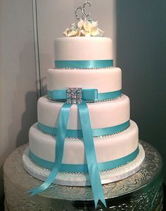 turquoise wedding cake #turquoise #wedding #cake