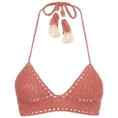 She Made Me Laharia crochet triangle bikini top ($155) ❤ liked on Polyvore featuring swimwear, bikinis, bikini tops, tops, bikini, swimsuit, tankini swimsuit tops, swimsuits bikinis, triangle swimsuit and crochet bikini top