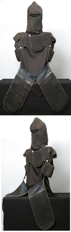 Kusari armor, zukin (hood), manju no wa (short vest), haidate (thigh armor).