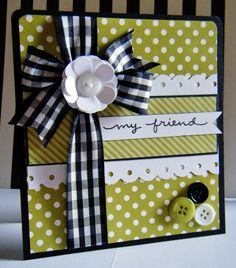 love the lime green polka dots w black & white - striking! Card Making Inspiration, Making Ideas, Cool Cards, Diy Cards, Button Cards, Friendship Cards, Scrapbook Cards, Friend Scrapbook, Scrapbook Photos