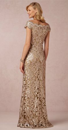 Golden metallic lace gown with beading for the Mother-of-the-Bride @BHLDN