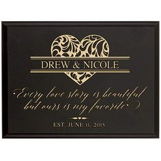 Personalized Family Established Year Signs Custom Names Sign Every Love Story Is Beautiful but Ours Is My Favorite Engraved Name and Year Established By Dayspring Milestones (Black, ** Discover this special product, click the image : Home Decor Plaques Anniversary Gift For Her, Wedding Anniversary Gifts, Diy Wedding Gifts, Baby Dedication, Established Sign, Family Name Signs, Parent Gifts, Wall Plaques, Custom Engraving