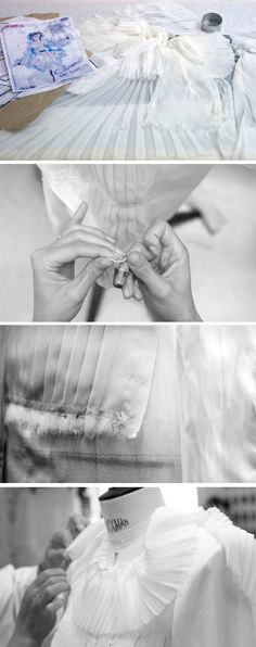 Fashion Atelier - haute couture pleated dress - dressmaking; fashion in the making; fashion design behind the scenes // Chanel