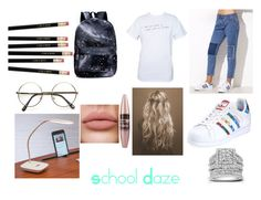 """School Daze"" by mrsluxurious ❤ liked on Polyvore featuring adidas, Kobelli, Improvements and Maybelline"