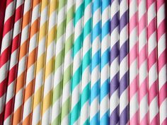 100 Paper Straws Rainbow Mix with DIY flags by GlitterDaisyShop