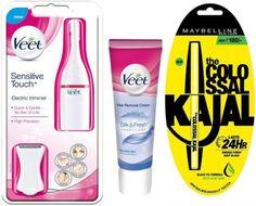 Veet Electric TrimmerVeet Hair Removal Cream Sensitive Skin 100gMaybelline Collosal Kajal Trimmer(White) At Rs.1099 From Flipkart