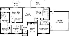 Ranch Style House Plans - 2086 Square Foot Home , 1 Story, 4 Bedroom and 2 Bath, 2 Garage Stalls by Monster House Plans - Plan 17-477