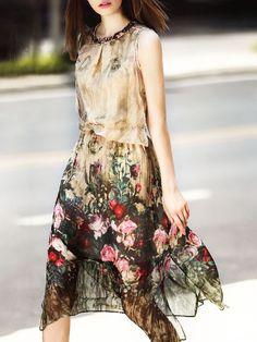 Vestido Suave Floral Beige