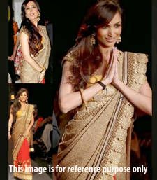 Buy Beige embroidered georgette saree with blouse with blouse bollywood-saree online
