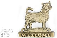 Chihuahua smooth haired dog welcome hanging by ArtDogshopcenter