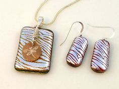 Wirewrapped zebra dichroic glass pendant by KittyKatGlassDesigns, $36.00