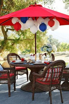 Hanging Red White And Blue Lanterns