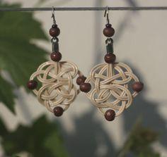 Pletená sluníčka na ouška, rattan weaving earring, tree beads, celtic, woven, nature, natural