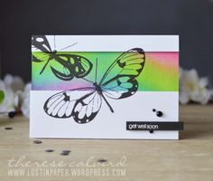 Lostinpaper - Penny Black - Butterfly Trio - Snippets Distress Ink Background… More Penny Black Cards, Penny Black Stamps, Some Cards, Get Well Cards, Distress Ink Techniques, Embossing Techniques, Paper Smooches, Marianne Design, Butterfly Cards