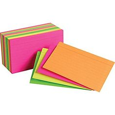"""Staples Index Cards 3"""" x 5"""" Line Ruled Neon Assorted Color, 300/Pack"""