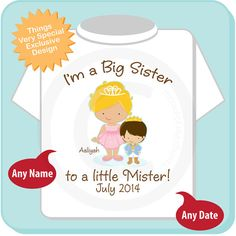 b1f1a2f45 Girl's Big Sister to a little Mister Blonde Hair Princess, Brown Hair Baby  Prince Shirt or Onesie, Pregnancy Announcement (03122014d). Big Brother ...