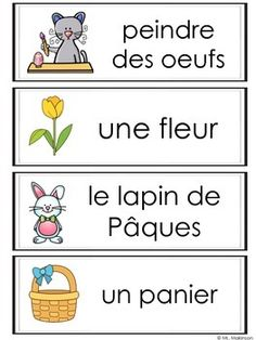 FRENCH Easter words perfect for the pocket chart, word wall, or writing center. French Language Lessons, French Language Learning, French Lessons, French Teaching Resources, Teaching French, French Articles, Kindergarten Language Arts, Core French, French Classroom