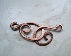 Medium Copper Hook Clasp, Hand Hammered - 2 pieces - Findings.
