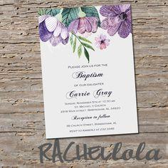 Purple Floral, Baptism invitation, Printable, DIY, christening
