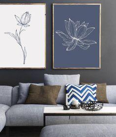 Navy Blue Wall Art Minimalist Print Set Blue Flower Prints | Etsy