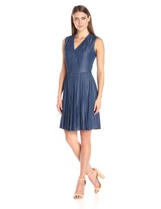 Tommy Hilfiger Womens Sleeveless Pleated Denim Dress Indigo 10 >>> You can find out more details at the link of the image. (This is an affiliate link) #CasualDresses