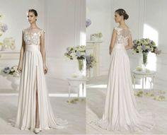 2015 Chiffon/lace Wedding Dress Bridal Gown bridesmaid Evening Dress Size 6-16