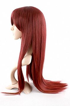 MapofBeauty Wine Red Long Straight Wig Oblique Bangs Wig Side Bangs Wig