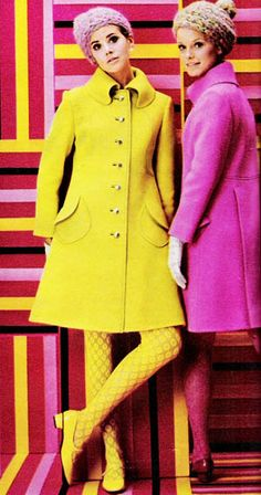 "November 1967. ""Coats head the caravan. They're both the same — sensational — just cast in two different color spells of hottest pink and yellow."""