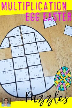 Easter Multiplication Egg Shaped Puzzles - These puzzles are perfect for math centers during Easter week. Each of the three puzzles will have students answer 34 different multiplication problems from 0x0 to 12x12. They're perfect for third or fourth grade students. Use them for early or fast finishers, review, enrichment, GATE, critical thinking, math centers, and more! Click through to pick yours up today! $ {3rd or 4th graders}