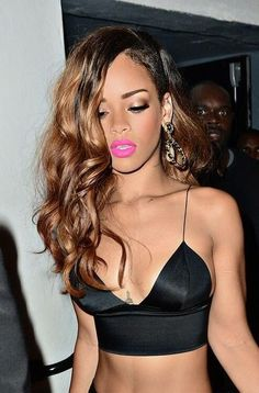 Rihanna perfect bitch, pink lips, black top, tattoo, brown hair