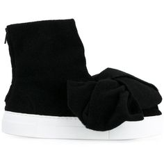 Joshua Sanders bow embellished hi-top sneakers ($317) ❤ liked on Polyvore featuring shoes, sneakers, black, black hi tops, leather sneakers, black trainers, high top sneakers and black leather high tops