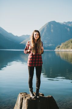 Red & Black Plaid Button Down Shirt, Black Skinny Jeans, Well Worn Black Combat Boots // hiking