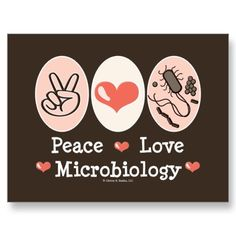 Peace Love Microbiology Postcard by GeekTeesGifts