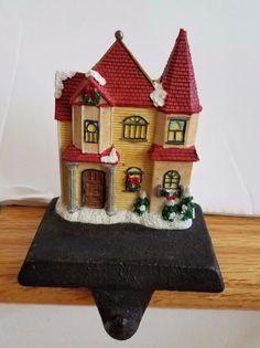 Cast Iron Resin Christmas Village HOUSE Stocking Holder Vintage Mantel Hanger #Unbranded