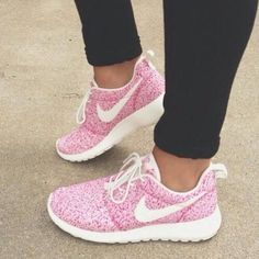 Pink and White Nike Roshe