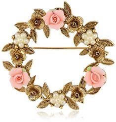 Porcelain Rose Floral Wreath Brooch - CK111VFXL7T - Brooches & Pins  #jewellrix #Brooches #Pins #jewelry #fashionstyle