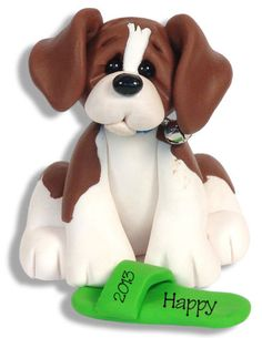 BEAGLE-PUPPY-DOG-HANDMADE-POLYMER-CLAY-Personalized-CHRISTMAS-Ornament-Deb-Co