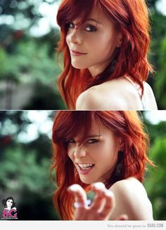Well this girl scares me a little bit, but i love the color and style of her hair! :)